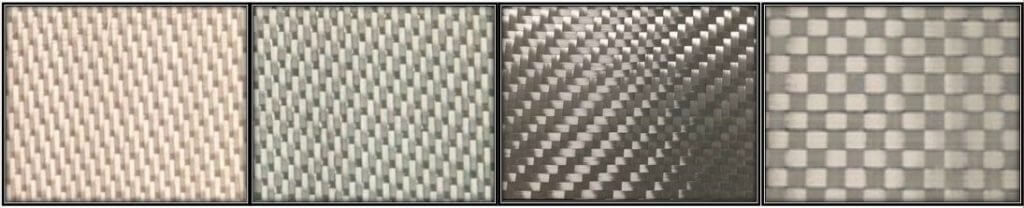 Figure 5: NextelTM 610 Fabric Architectures. (Left) 8HS1500D; (Middle Left) 5HS3000D; (Middle Right) 2x2TW4500D; (Right) Spread Tow PW100000D