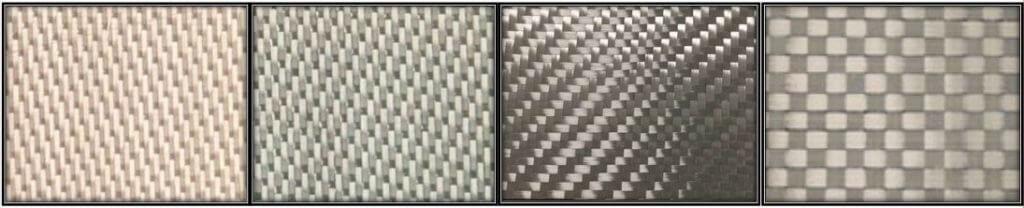 Figure 5: NextelTM 610 Fabric Architectures. (Left) 8HS1500D; (Middle Left) 5HS3000D; (Middle Right) 2x2TW4500D; (Right) Spread Tow PW100000D