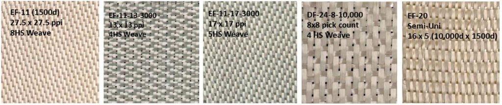 Figure 3: Images of select woven Nextel sized fabrics