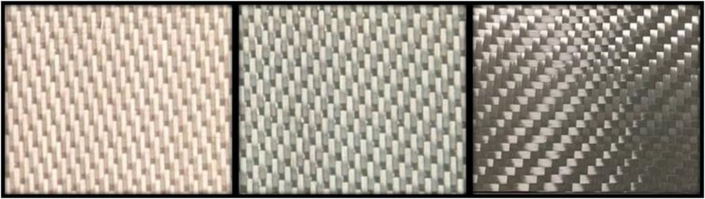 Figure 2. Nextel™ 610 fabric architectures. (Left) 8HS1500D; (Middle) 5HS3000D; (Right) 2x2TW4500D.