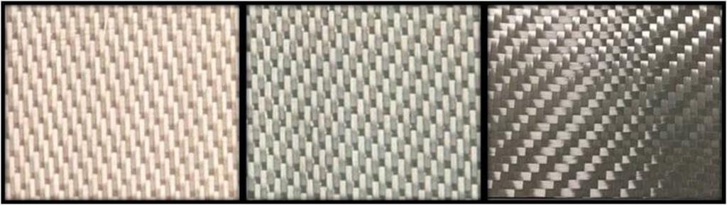 Figure 2. Nextel™ 610 fabric architectures. (Left) 8HS1500D; (Middle) 5HS3000D; (Right) 2x2TW4500D.