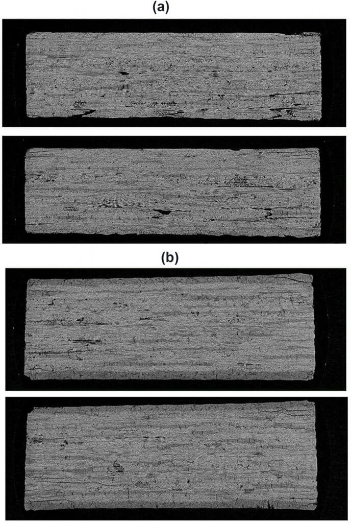 Figure 4. Micro-CT images of CMC 12-ply laminates. (a) Without surfacing film; (b) with surfacing film.
